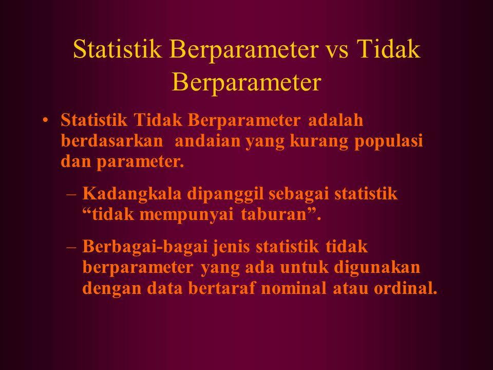 Statistik Berparameter vs Tidak Berparameter Statistik Tidak Berparameter adalah berdasarkan andaian yang kurang populasi dan parameter.