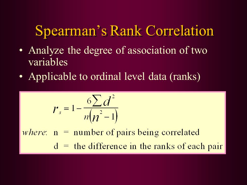 Spearman's Rank Correlation Analyze the degree of association of two variables Applicable to ordinal level data (ranks)