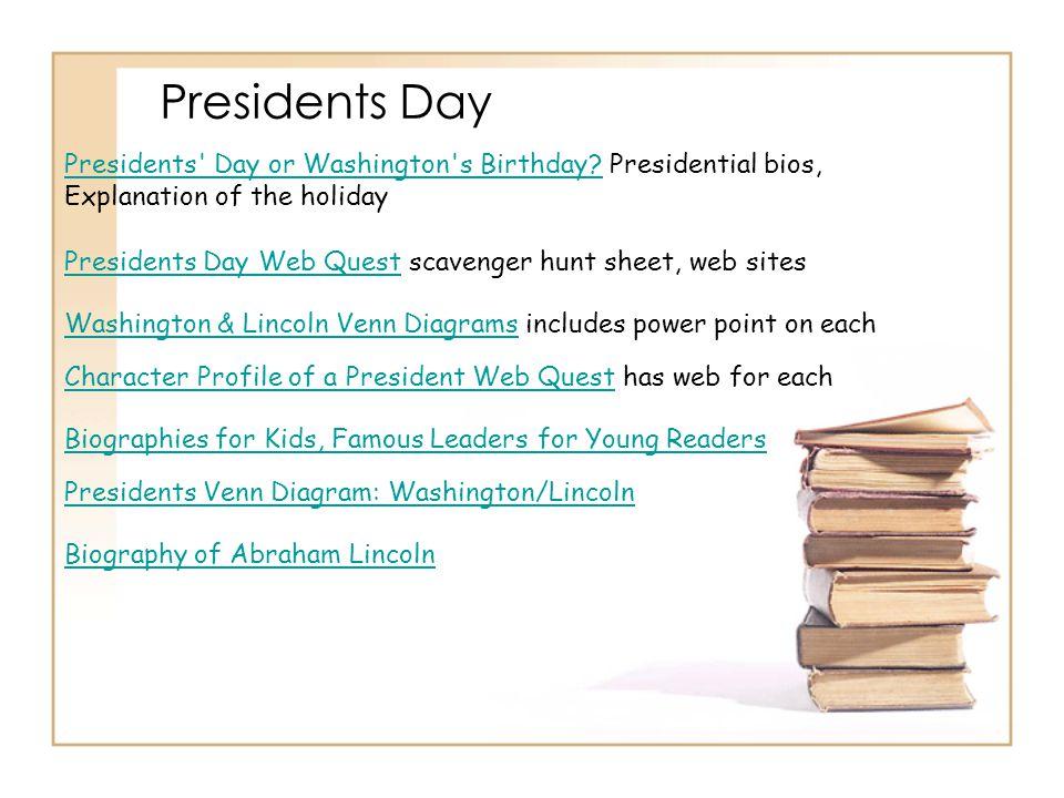Presidents Day Presidents' Day or Washington's Birthday?Presidents' Day or Washington's Birthday? Presidential bios, Explanation of the holiday Biogra