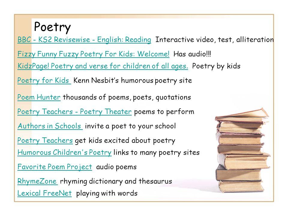 Poetry BBC - KS2 Revisewise - English: ReadingBBC - KS2 Revisewise - English: Reading Interactive video, test, alliteration Fizzy Funny Fuzzy Poetry F