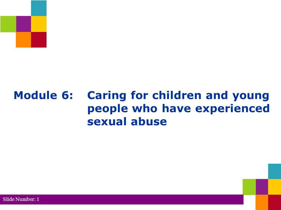 Slide Number: 2 Module 6: Caring for children and young people who have experienced sexual abuse Learning Outcomes 1.