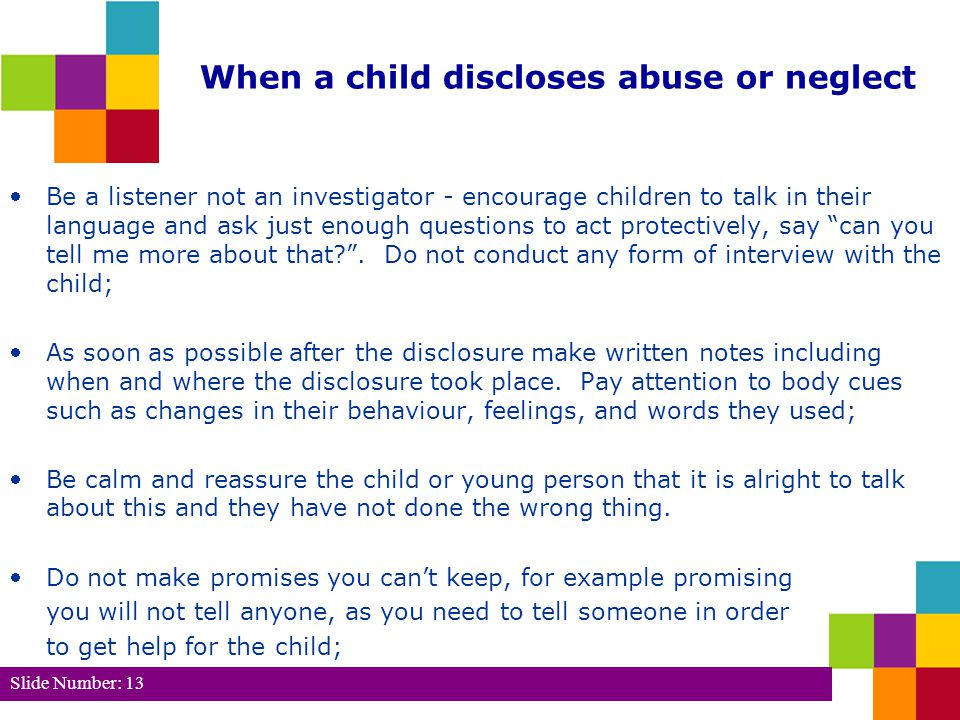 Slide Number: 14 (cont.) Tell the child or young person that you will need to talk to their CSO.