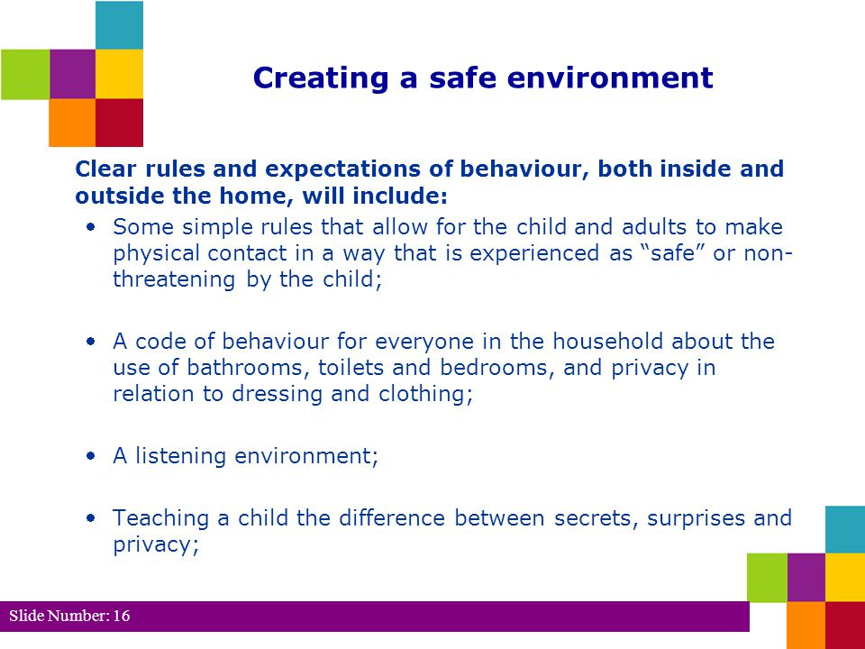 Slide Number: 17 (cont.) Teaching the correct and appropriate words for body parts and behaviours; Teaching the child to recognise his or her own feelings and strategies for managing them; Always asking the child's permission before taking photographs/video tapes; and Living in an arena of safety – carrying out a safety audit and reviewing it regularly Reference: Hellett, J.