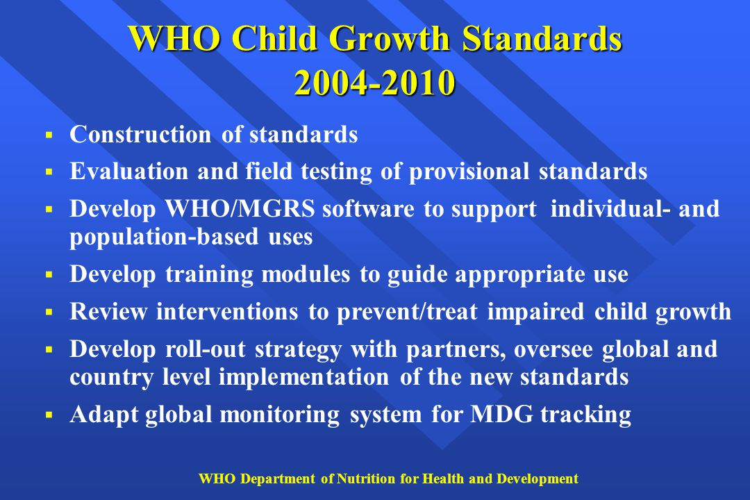 WHO Child Growth Standards 2004-2010  Construction of standards  Evaluation and field testing of provisional standards  Develop WHO/MGRS software t