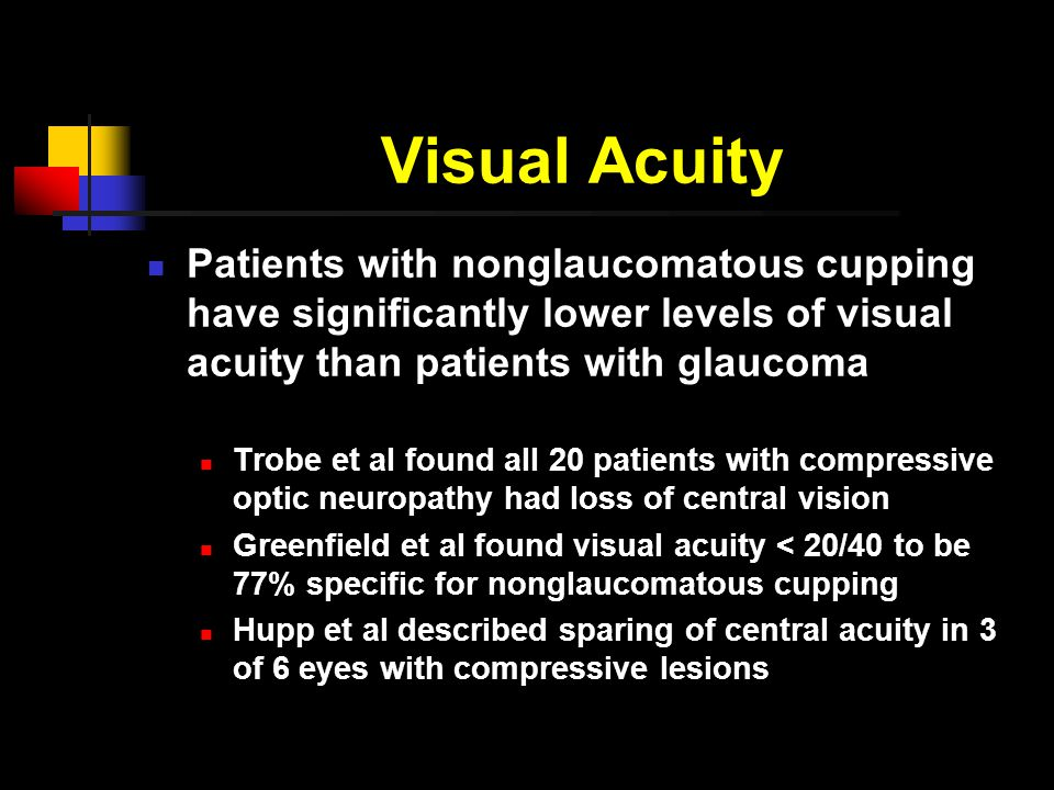 Visual Acuity Patients with nonglaucomatous cupping have significantly lower levels of visual acuity than patients with glaucoma Trobe et al found all 20 patients with compressive optic neuropathy had loss of central vision Greenfield et al found visual acuity < 20/40 to be 77% specific for nonglaucomatous cupping Hupp et al described sparing of central acuity in 3 of 6 eyes with compressive lesions