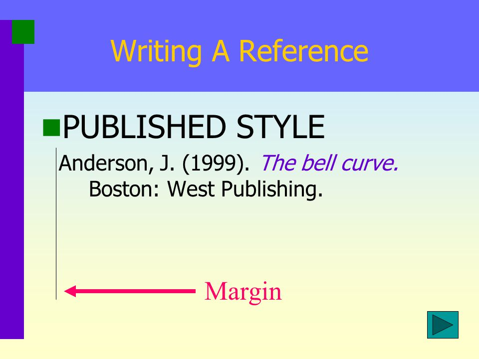 5 th Edition Change: Writing a Reference Published Style First line is backspaced (5-7) spaces Second and consecutive lines are indented 5 spaces from