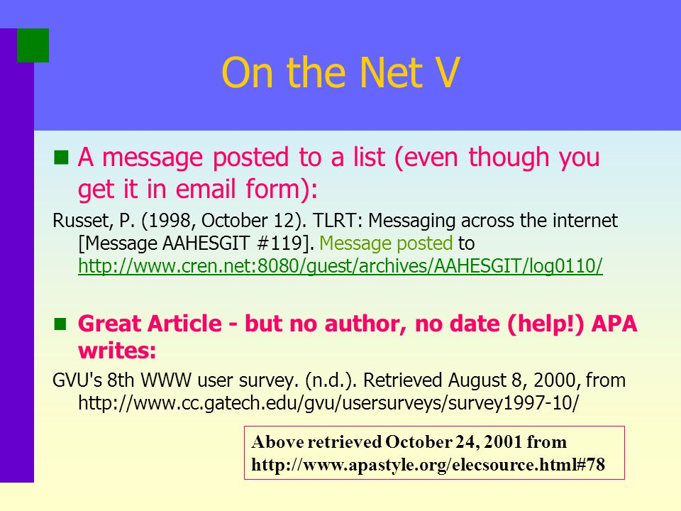 On the Net IV Electronic copy of a journal on the net: Whitcome, R., List, T., Wilson, K. & rogers, J. (2001). A snitch in time: A review of the proxi