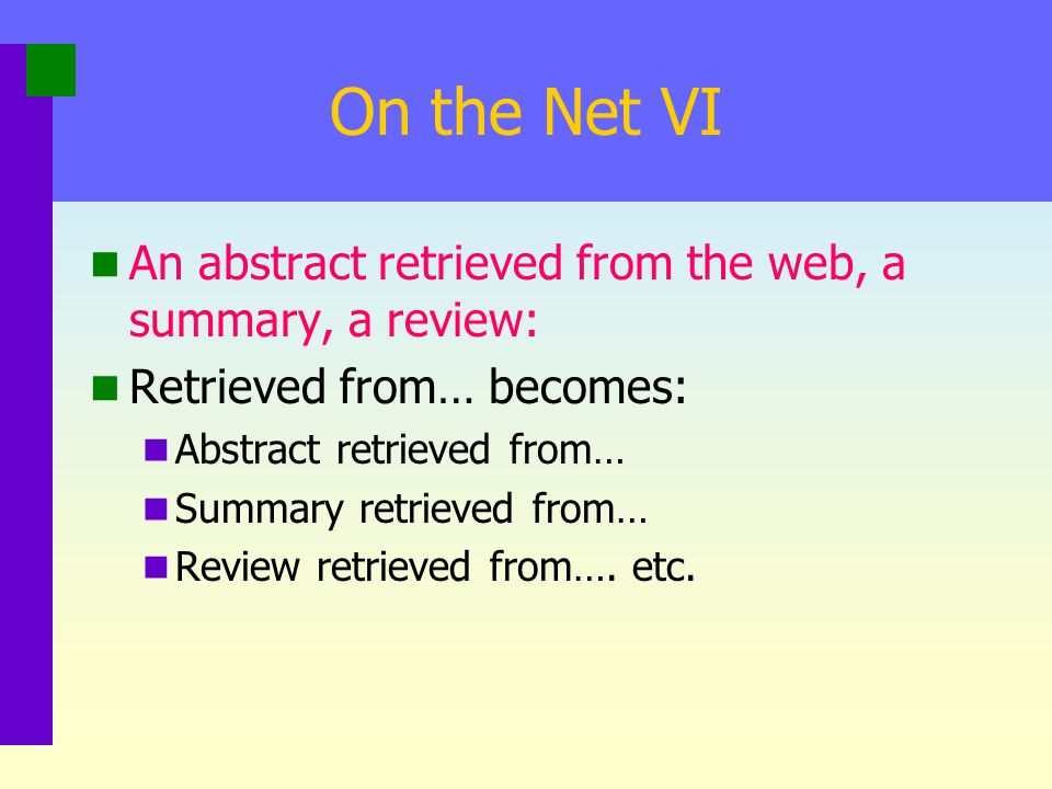 On the Net V A message posted to a list (even though you get it in email form): Russet, P. (1998, October 12). TLRT: Messaging across the internet [Me