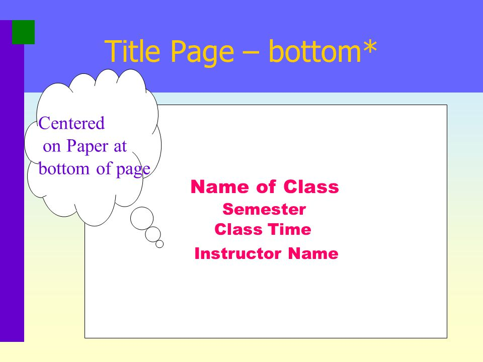 Title Page - middle Full title of Paper Your Name Your Institution Centered on Paper