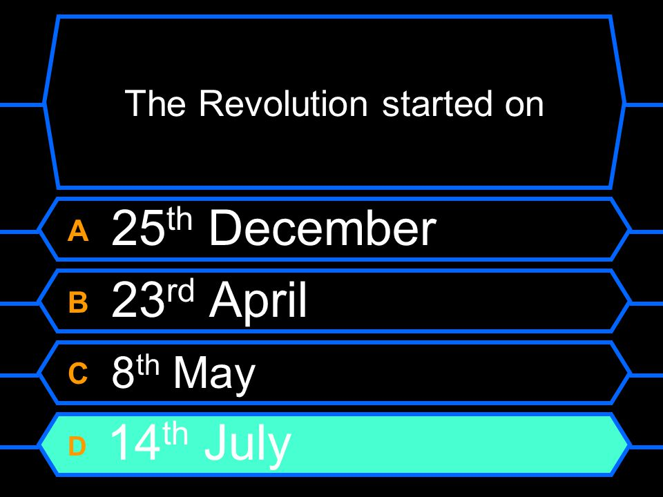 The Revolution started on A 25 th December B 23 rd April C 8 th May D 14 th July
