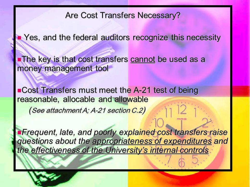 Are Cost Transfers Necessary.