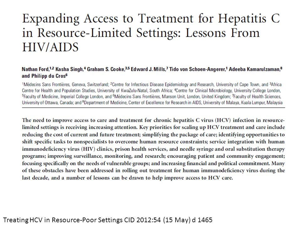 Treating HCV in Resource-Poor Settings CID 2012:54 (15 May) d 1465