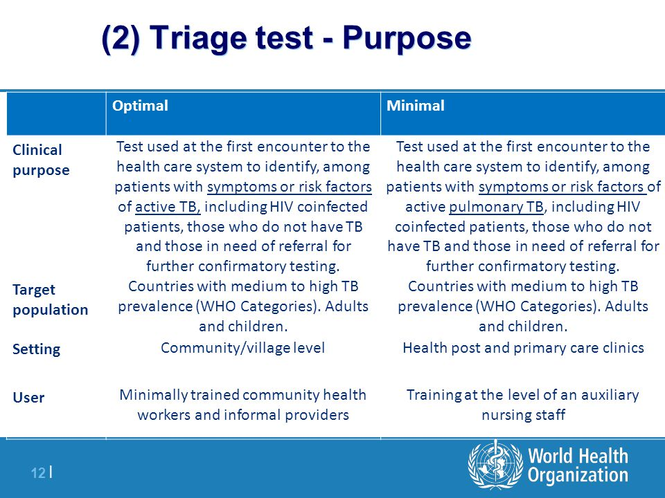 12 | (2) Triage test - Purpose OptimalMinimal Clinical purpose Test used at the first encounter to the health care system to identify, among patients with symptoms or risk factors of active TB, including HIV coinfected patients, those who do not have TB and those in need of referral for further confirmatory testing.