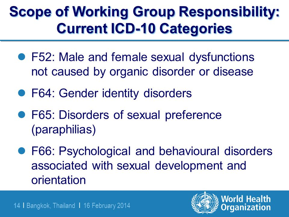 Bangkok, Thailand | 16 February 2014 14 | Scope of Working Group Responsibility: Current ICD-10 Categories F52: Male and female sexual dysfunctions no