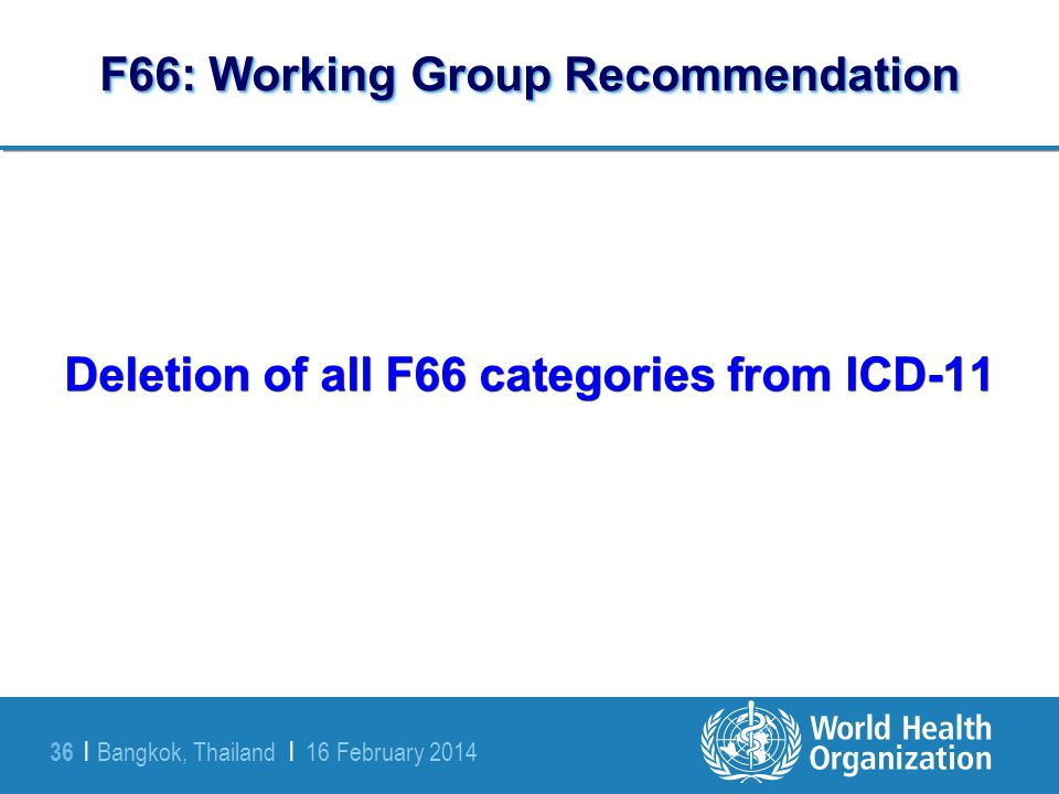 Bangkok, Thailand | 16 February 2014 36 | F66: Working Group Recommendation Deletion of all F66 categories from ICD-11