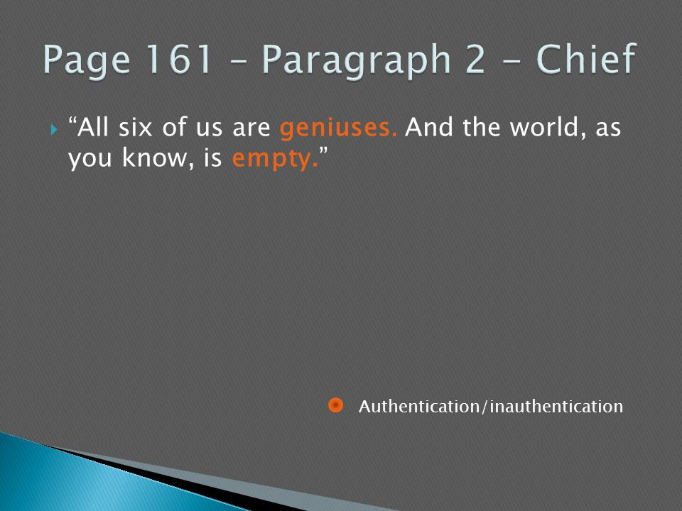 """ """"All six of us are geniuses. And the world, as you know, is empty."""" Authentication/inauthentication"""