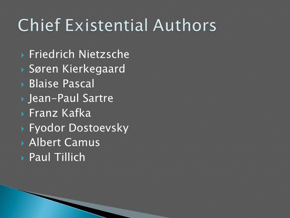  Friedrich Nietzsche  Søren Kierkegaard  Blaise Pascal  Jean-Paul Sartre  Franz Kafka  Fyodor Dostoevsky  Albert Camus  Paul Tillich