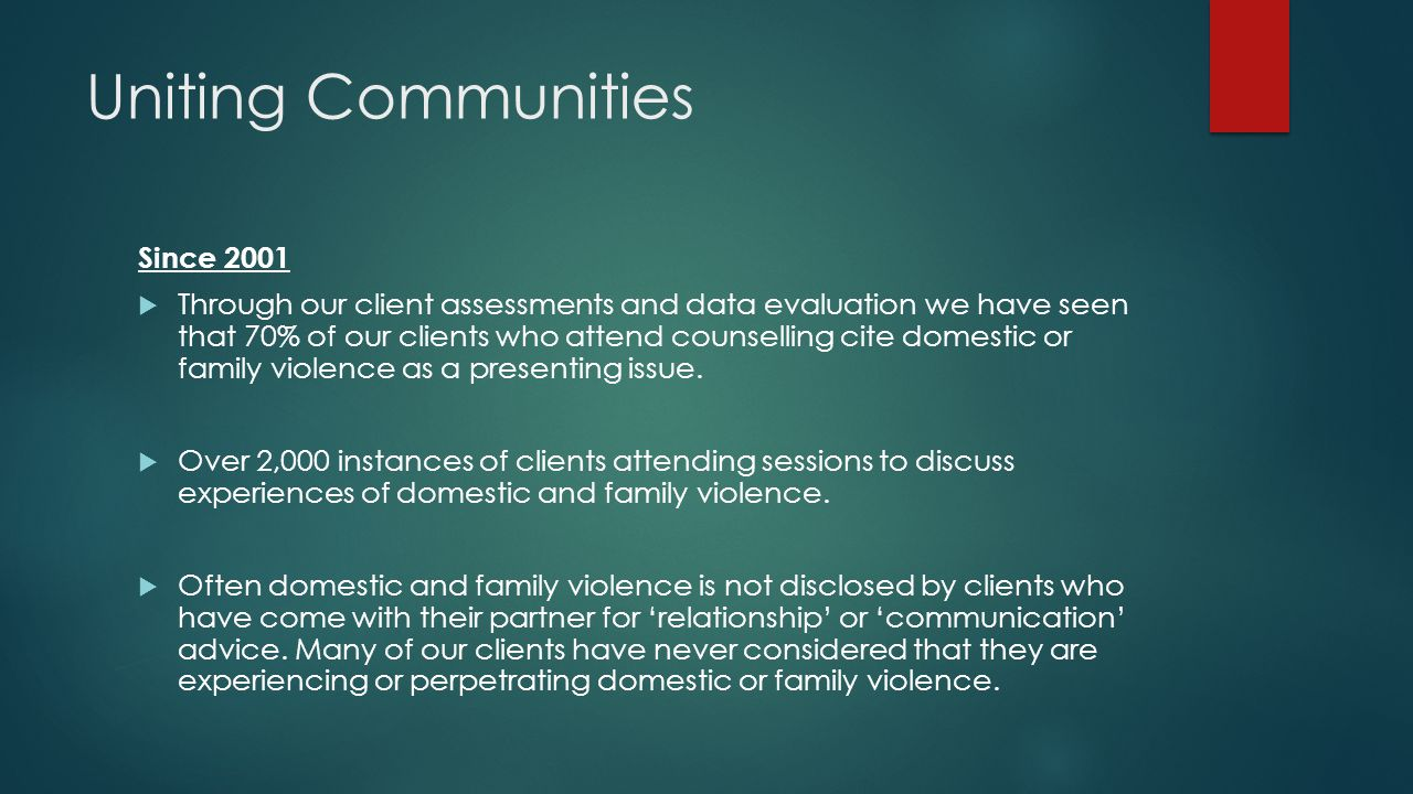 Concluding comments  Men often enter services voluntarily with their intimate partner seeking assistance with relationship counselling – how to talk about and name domestic violence when it is noticed in couple contexts requires exploration.