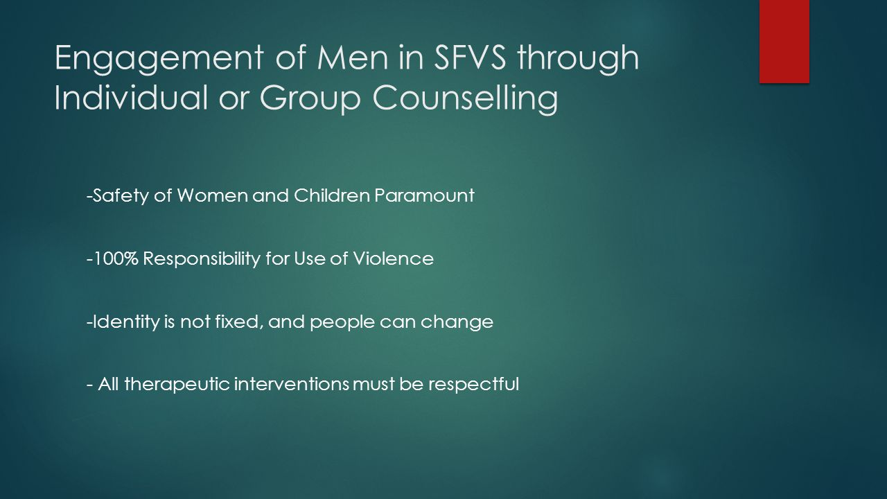 Engagement of Men in SFVS through Individual or Group Counselling -Safety of Women and Children Paramount -100% Responsibility for Use of Violence -Identity is not fixed, and people can change - All therapeutic interventions must be respectful