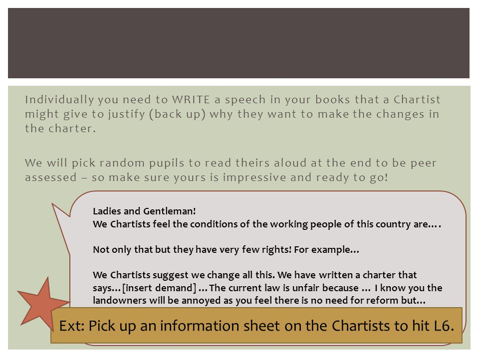 Individually you need to WRITE a speech in your books that a Chartist might give to justify (back up) why they want to make the changes in the charter