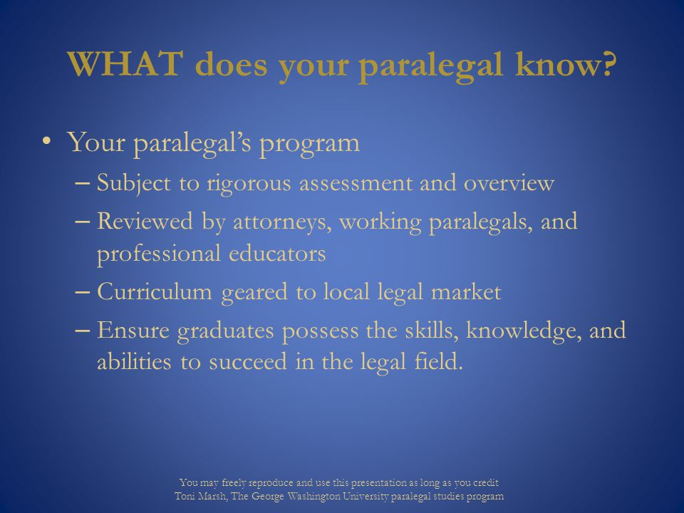 WHAT does your paralegal know.