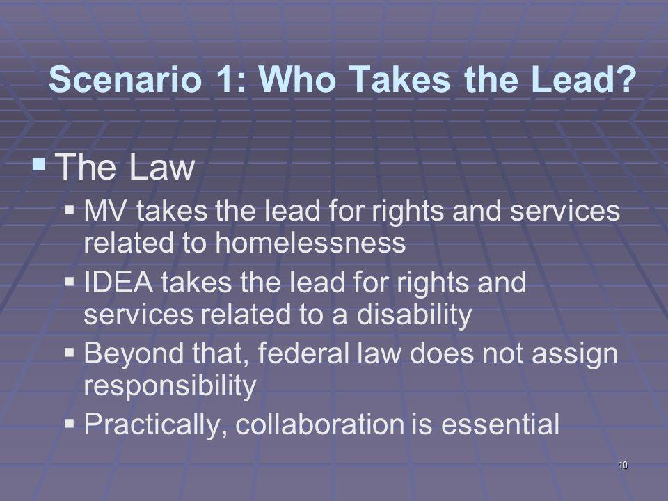 10 Scenario 1: Who Takes the Lead.