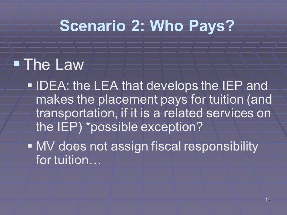 16 Scenario 2: Who Pays.