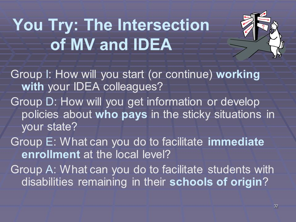32 You Try: The Intersection of MV and IDEA Group I: How will you start (or continue) working with your IDEA colleagues.