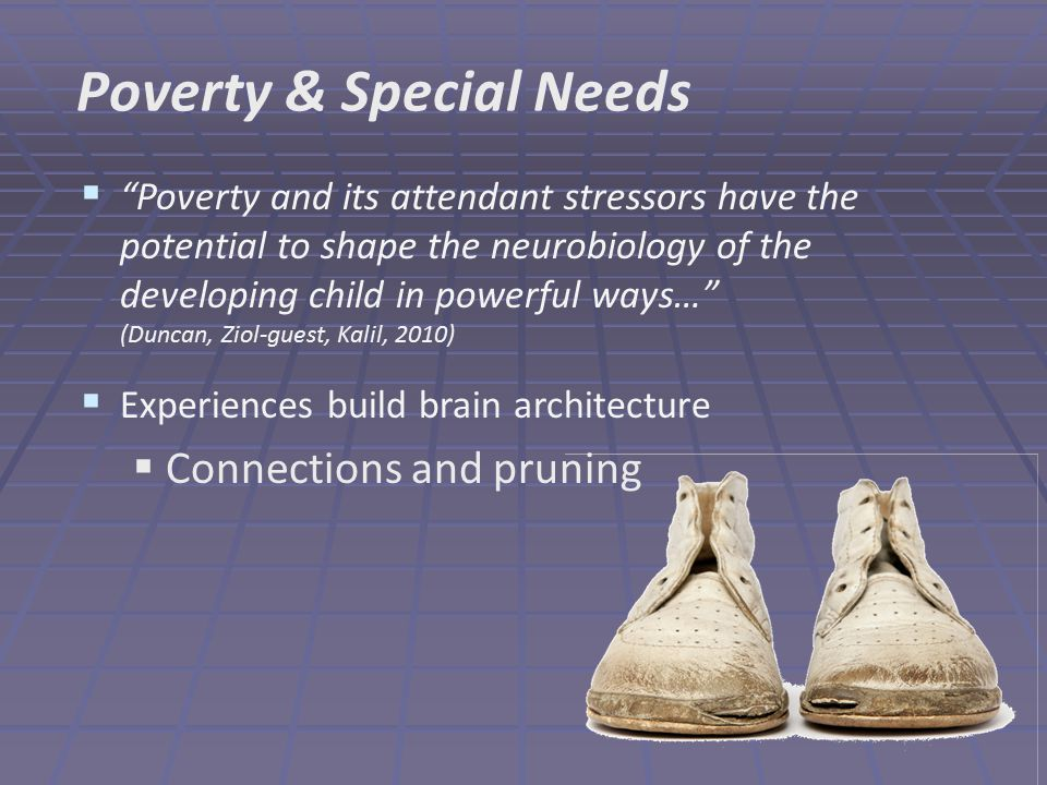  Poverty and its attendant stressors have the potential to shape the neurobiology of the developing child in powerful ways… (Duncan, Ziol-guest, Kalil, 2010)  Experiences build brain architecture  Connections and pruning Poverty & Special Needs