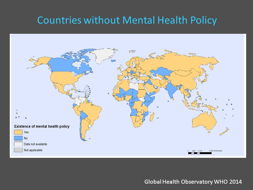 Countries without Mental Health Policy Global Health Observatory WHO 2014