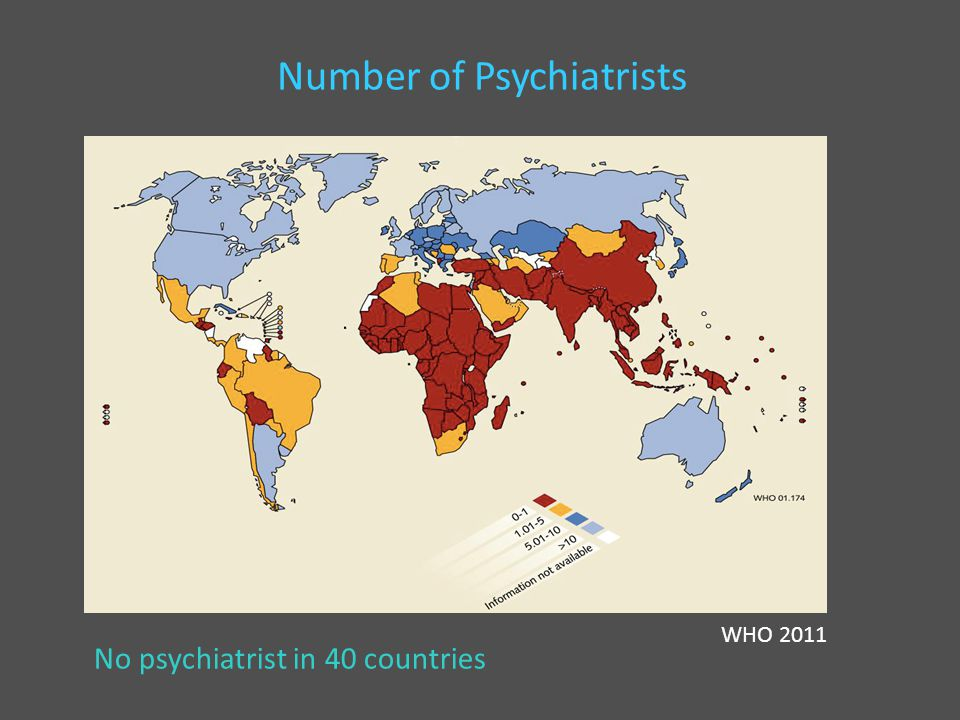 Number of Psychiatrists WHO 2011 No psychiatrist in 40 countries