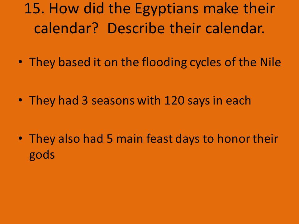 15. How did the Egyptians make their calendar. Describe their calendar.