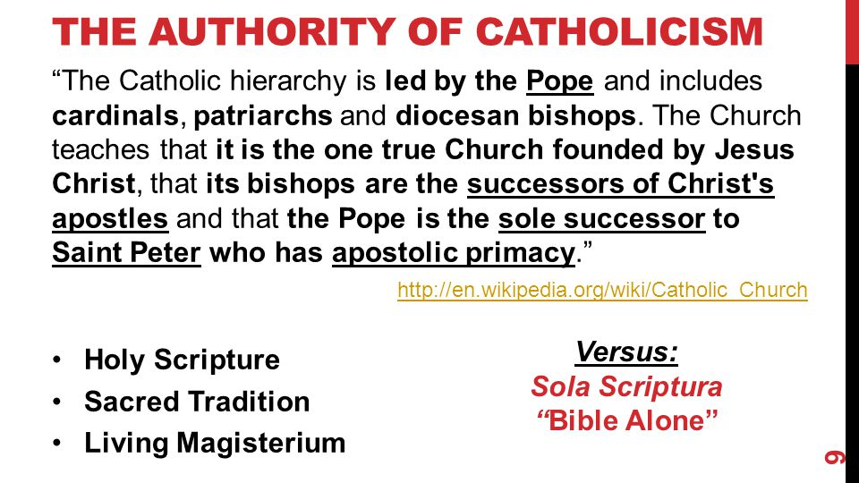 THE AUTHORITY OF CATHOLICISM The Catholic hierarchy is led by the Pope and includes cardinals, patriarchs and diocesan bishops.