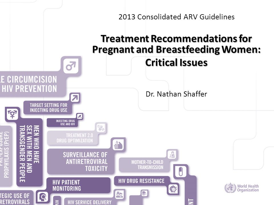 HIV/AIDS DEPARTMENT 2013 Consolidated ARV Guidelines Treatment Recommendations for Pregnant and Breastfeeding Women: Critical Issues Dr. Nathan Shaffe