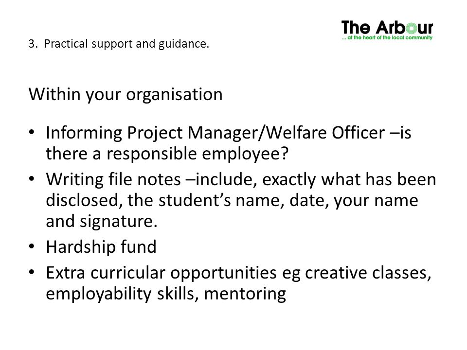 3. Practical support and guidance. Within your organisation Informing Project Manager/Welfare Officer –is there a responsible employee? Writing file n