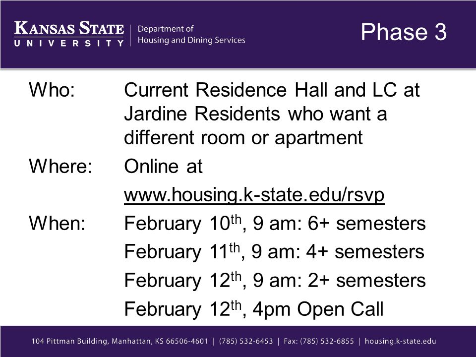 Phase 3 Who: Current Residence Hall and LC at Jardine Residents who want a different room or apartment Where: Online at www.housing.k-state.edu/rsvp When: February 10 th, 9 am: 6+ semesters February 11 th, 9 am: 4+ semesters February 12 th, 9 am: 2+ semesters February 12 th, 4pm Open Call