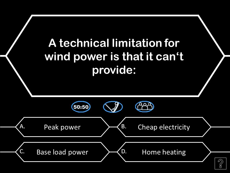 Peak power A. A technical limitation for wind power is that it can't provide: Cheap electricity B.