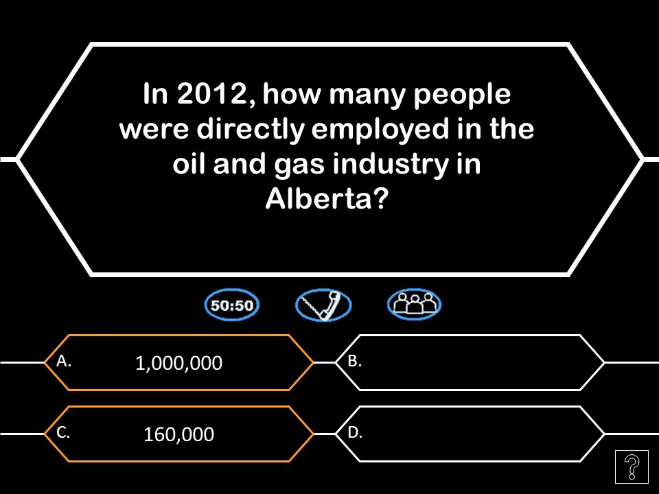 1,000,000 A. In 2012, how many people were directly employed in the oil and gas industry in Alberta? B. 160,000 C.D.