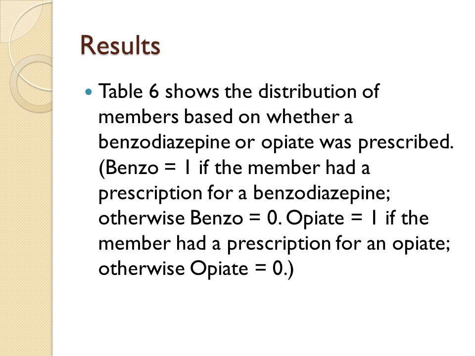 Results Table 6 shows the distribution of members based on whether a benzodiazepine or opiate was prescribed.