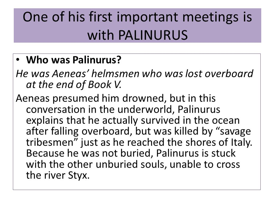 One of his first important meetings is with PALINURUS Who was Palinurus.