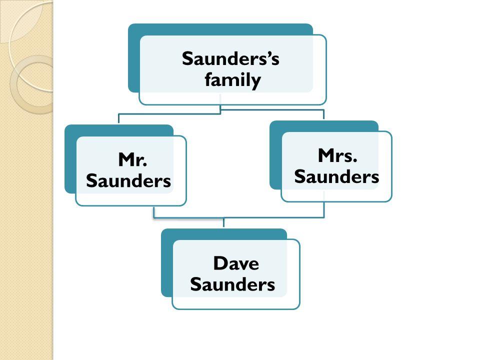 Saunders's family Mr. Saunders Mrs. Saunders Dave Saunders