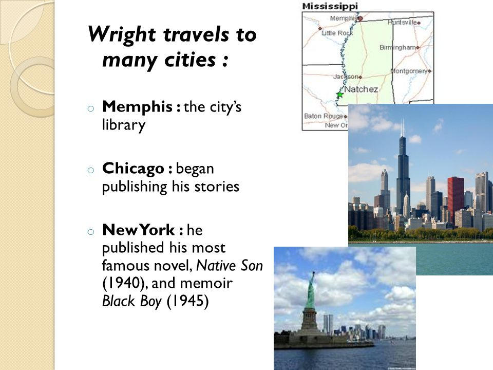 Wright travels to many cities : o Memphis : the city's library o Chicago : began publishing his stories o New York : he published his most famous nove