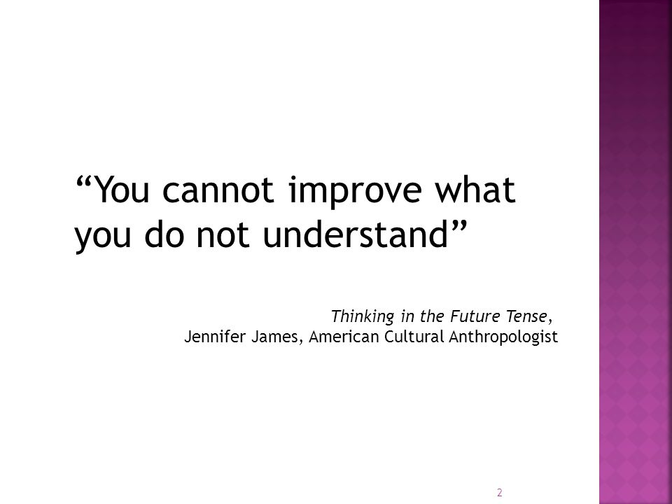 You cannot improve what you do not understand Thinking in the Future Tense, Jennifer James, American Cultural Anthropologist 2
