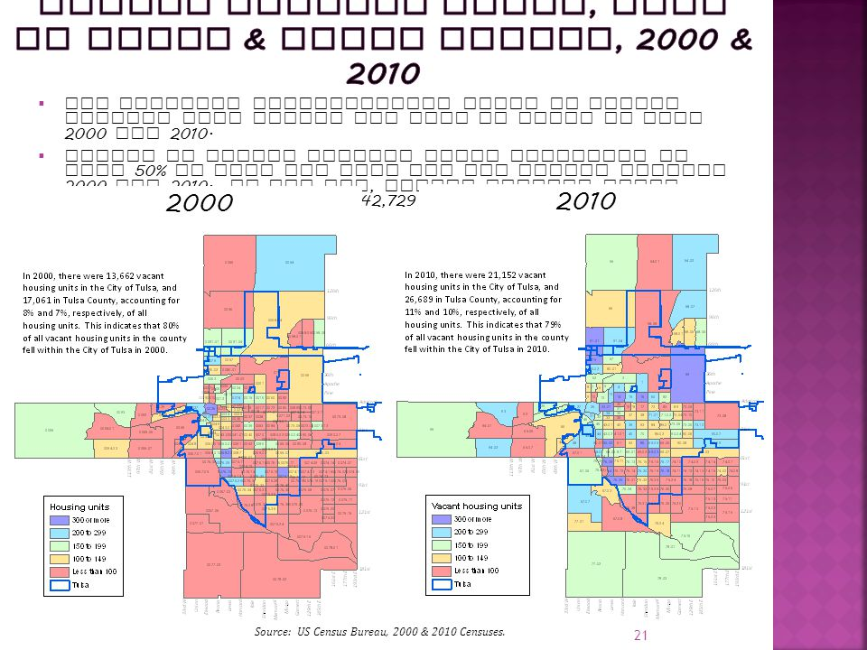 21 20002010  The greatest concentration areas of vacant housing fell within the City of Tulsa in both 2000 and 2010.