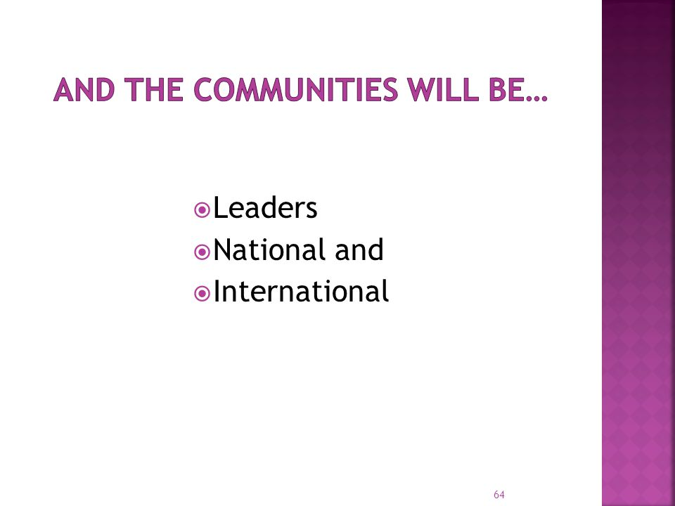  Leaders  National and  International 64