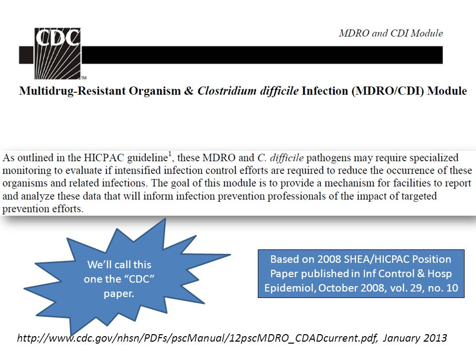 """http://www.cdc.gov/nhsn/PDFs/pscManual/12pscMDRO_CDADcurrent.pdf, January 2013 We'll call this one the """"CDC"""" paper. Based on 2008 SHEA/HICPAC Position"""
