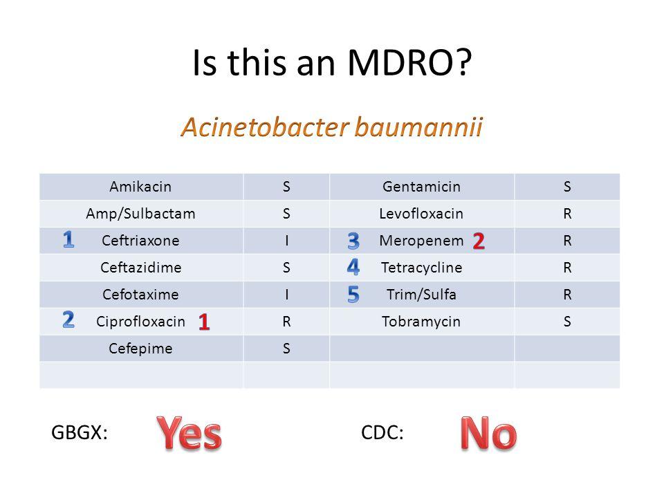 Is this an MDRO? AmikacinSGentamicinS Amp/SulbactamSLevofloxacinR CeftriaxoneIMeropenemR CeftazidimeSTetracyclineR CefotaximeITrim/SulfaR Ciprofloxaci