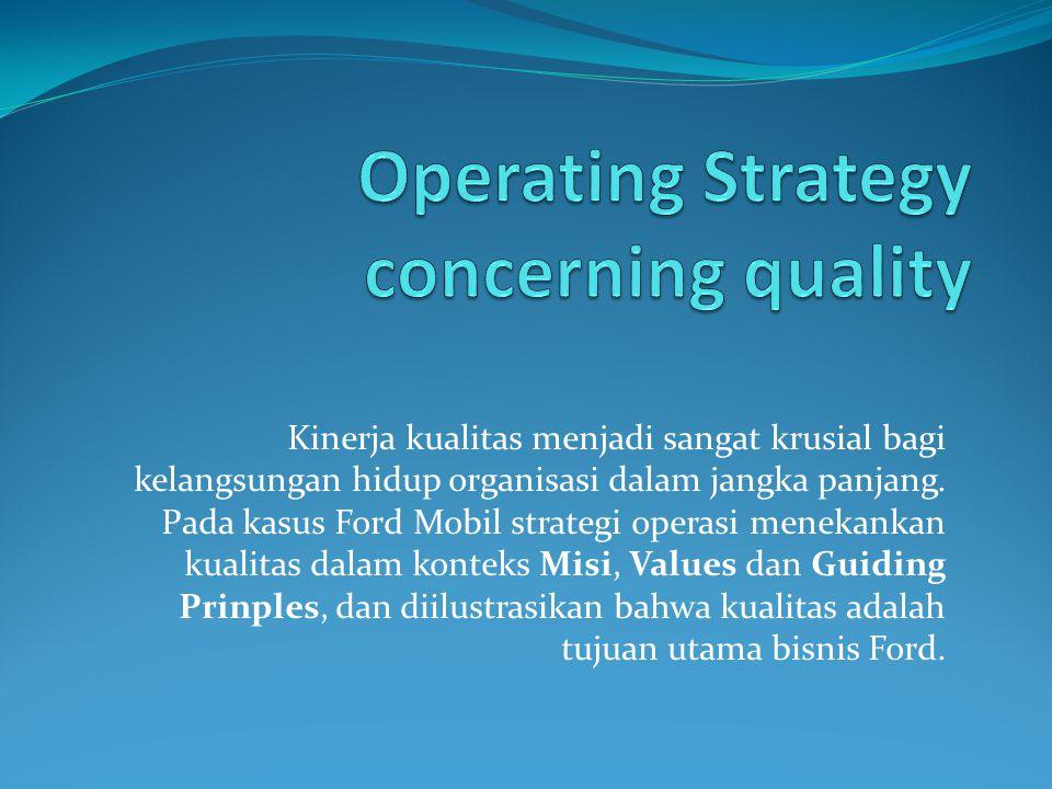 Kinerja kualitas menjadi sangat krusial bagi kelangsungan hidup organisasi dalam jangka panjang.