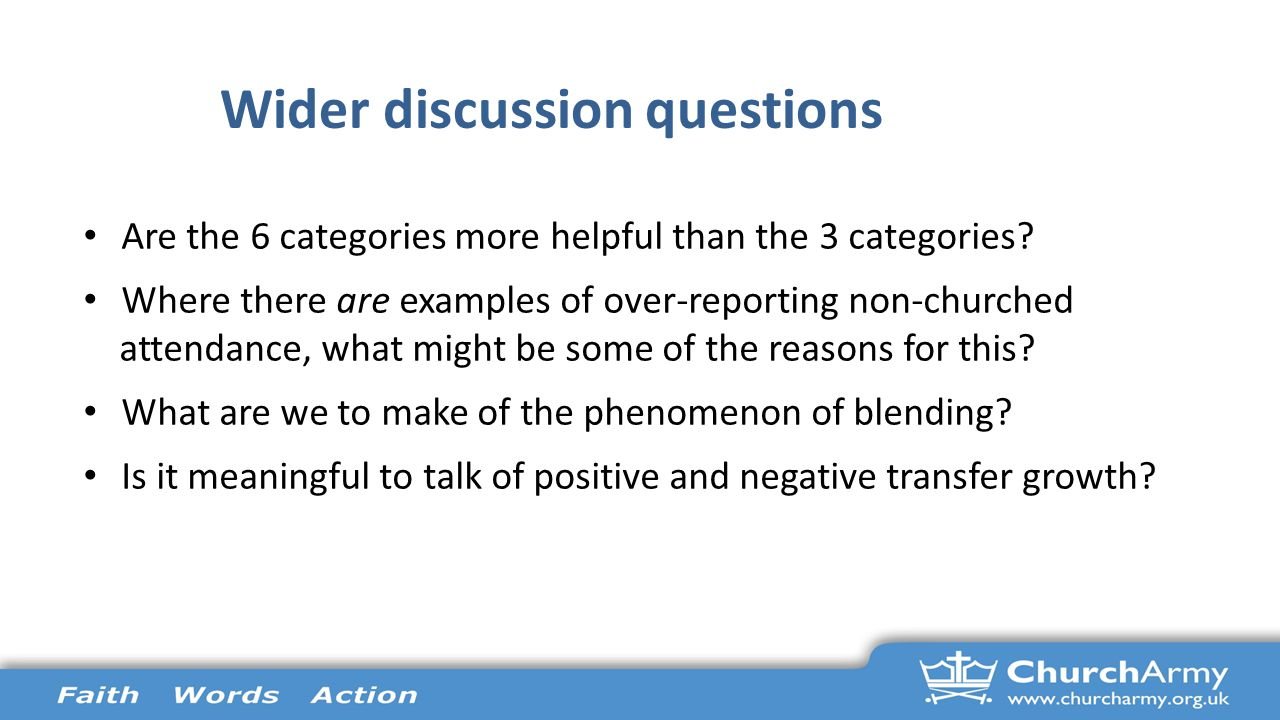 Wider discussion questions Are the 6 categories more helpful than the 3 categories.