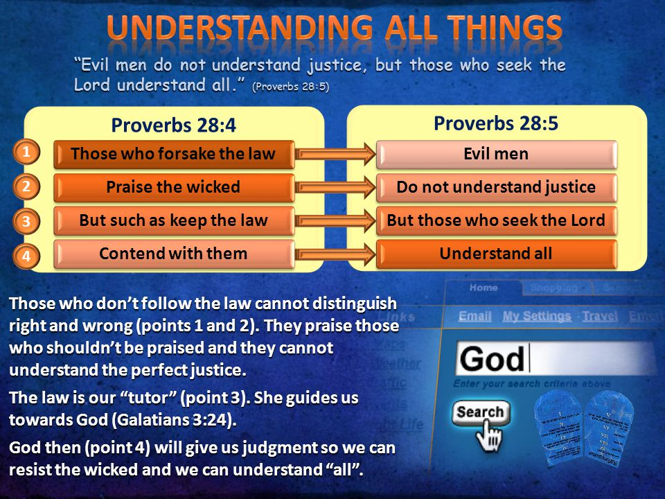 """""""Evil men do not understand justice, but those who seek the Lord understand all."""" (Proverbs 28:5) Proverbs 28:4 Those who forsake the lawPraise the wi"""
